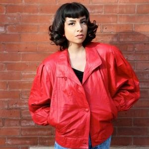 Jackets & Blazers - Vintage 1980's Red Real Italian Leather Jacket
